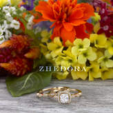 Etsy Yellow Gold Cushion Engagement Ring In 14k or 18k Yellow Gold , Art Deco Bridal Set, Scalloped Weddi