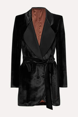 BLAZÉ MILANO Etoile Double-breasted Silk Faille-trimmed Houndstooth Velvet Blazer - Black