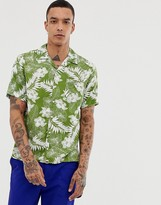 Pretty Green short sleeve floral print revere collar shirt in green