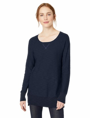 Daily Ritual Amazon Brand Women's Lightweight Open-Crewneck Raglan Tunic Pullover Sweater
