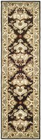 Safavieh Heritage Collection HG817B Handmade Espresso and Ivory Wool Runner, 2 feet 3 inches by 12 feet