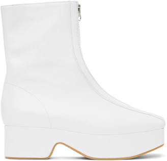Flat Apartment White Squared Toe Zip Boots