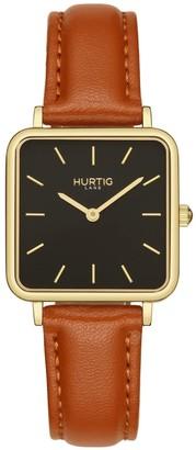 Hurtig Lane Nelio Square Vegan Leather Watch Gold/Black/Tan