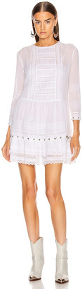R 13 Lacy Gauze Dress in White | FWRD