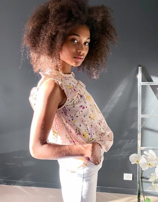 Vero Moda broderie blouse with ruffle trim in pink floral