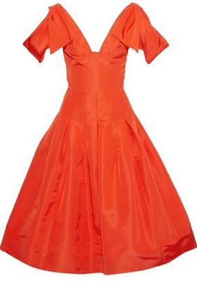 Oscar de la Renta Flared Bow-embellished Wool-blend Faille Dress