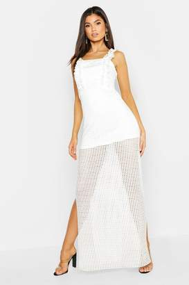 boohoo Jersey Crochet High Split Maxi Dress