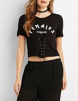 Charlotte Russe Corset-Detail Graphic Crop Top