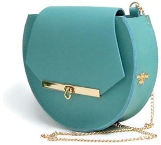 Angela Valentine Handbags Loel Mini Military Bee Chain Bag Clutch In Pool Blue