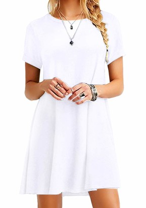 YMING Lady Short Sleeve Round Neck T-Shirt Mini Dress Casual Tunic Tops Loose Fit Swing Dress Purple Dress XL