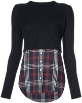 Veronica Beard checked shirt detail jumper