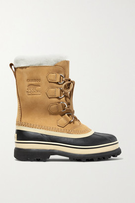 Sorel Caribou Fleece-trimmed Nubuck And Rubber Snow Boots - Tan
