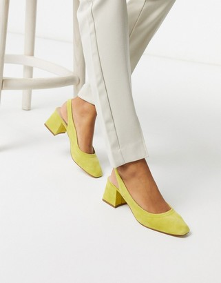 ASOS DESIGN Scottie premium suede slingback block heels in chartreuse