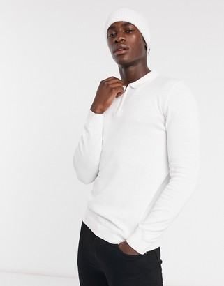 Topman knitted zip neck polo in white