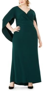 Betsy & Adam Plus Size Capelet Gown