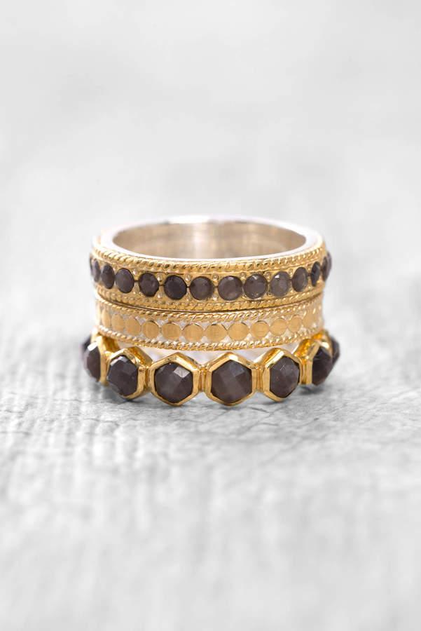 Anna Beck Triple Stack Grey Saphire Ring Set