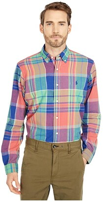 Polo Ralph Lauren Classic Fit Madras Shirt (Blue/Red Multi) Men's Clothing