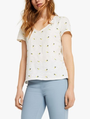 White Stuff Summer Embroidered Tee, White/Yellow