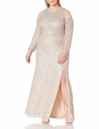 Adrianna Papell Women's Beaded Long Dress Plus Size