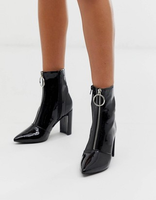 Public Desire Thrill black patent block heeled ankle boots