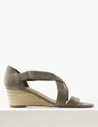 M&S CollectionMarks and Spencer Suede Wedge Heel Crossover Strap Sandals