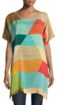Johnny Was Kiltic Printed High-Slit Tunic, Multicolor