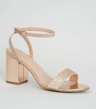 New Look Wide Fit lic Glitter Block Heels