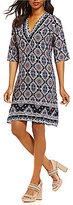 Gibson & Latimer Border Printed 3/4 Sleeve Shift Dress