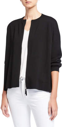Lafayette 148 New York Plus Size Zip Front Wool Cardigan
