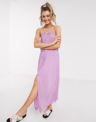 En Creme cami strap midi dress with lace insert in pink