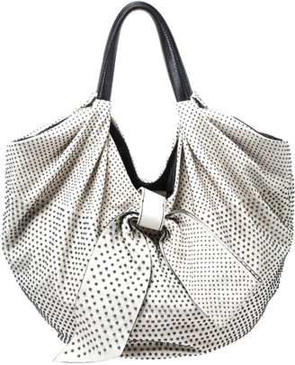 Valentino White Nappa Leather Studded Folie Bow Hobo