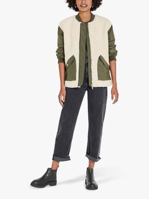 Hush Patchwork Textured Jacket, Khaki