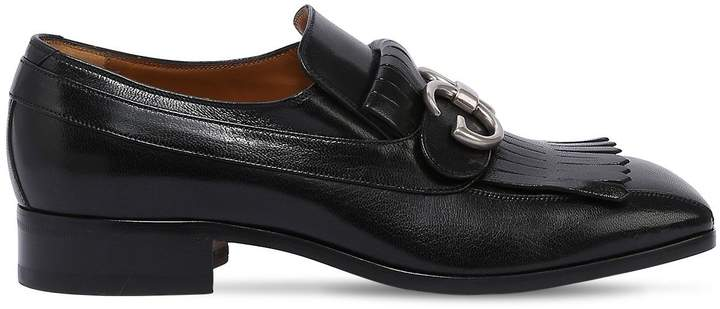 Gucci 25mm Novel Gg Buckle Leather Loafers