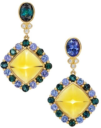 Temple St. Clair Dreamcatcher 18K Yellow Gold, Yellow Beryl & Multi-Stone Mismatched Drop Earrings