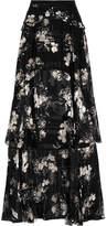 Erdem Annabelle Ruffled Printed Silk-chiffon Maxi Skirt - Black