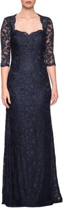 La Femme Lace Trumpet Gown