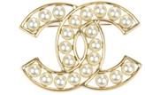 Chanel CC Logo Gold Tone Faux Pearl Cutout Brooch