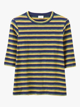 Toast Half Sleeve Cotton Stripe T-Shirt, Provence Blue/Lemon