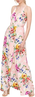 Yumi Kim Rush Hour Floral Silk Wrap Maxi Dress