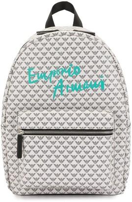 Emporio Armani Kids monogram-print zipped backpack