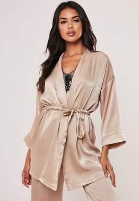 Missguided Mink Satin Sheen Tie Waist Kimono Dressing Gown