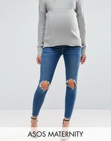 Asos RIDLEY Skinny Jeans in Roy Dark Stonewash with Busted Knees With Under the Bump Waistband