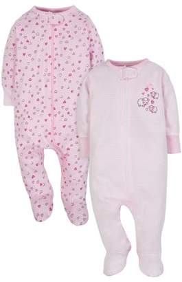 N. Wonder Nation Zip Up Sleep 'N Play Sleeper, 2pk (Baby Girls)