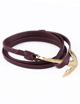 Miansai Burgundy Gold Anchor On Leather Bracelet