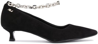 Karl Lagerfeld Paris Pompador suede chain-ankle pumps