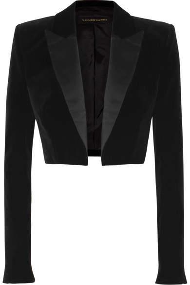 Alexandre Vauthier Cropped Satin-trimmed Velvet Blazer - Black