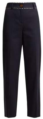 Peter Pilotto Piped Straight Leg Trousers - Womens - Navy