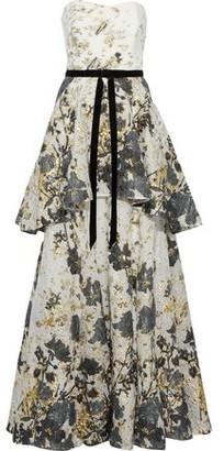 Marchesa Strapless Velvet-trimmed Fil Coupe Cloque Peplum Gown