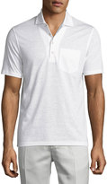 Luciano Barbera Cotton-Linen Blend Polo Shirt, White