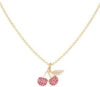Saks Fifth Avenue 14K Yellow Gold, Ruby & Diamond Cherry Pendant Necklace